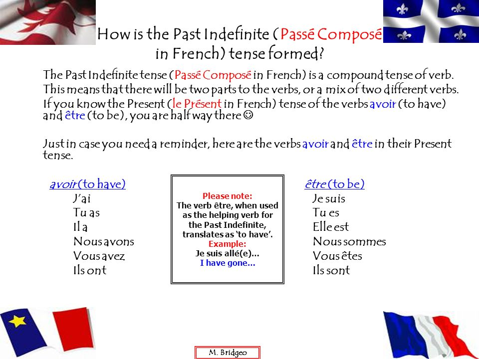 How is the Past Indefinite (Passé Composé in French) tense formed? The Past Indefinite tense (Passé Composé in French) is a compound tense of verb. Th