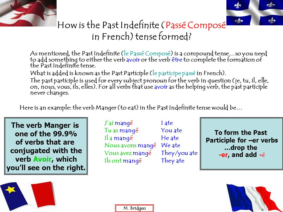 As mentioned, the Past Indefinite (le Passé Composé) is a compound tense…so you need to add something to either the verb avoir or the verb être to com