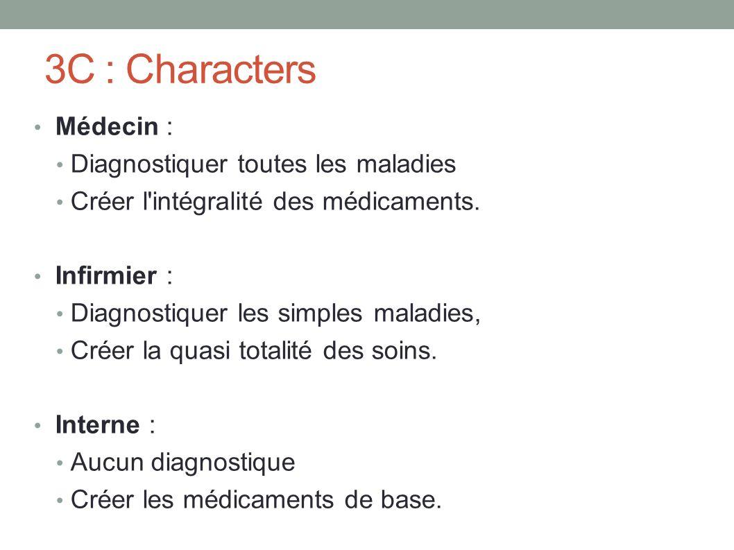 3C : Characters Médecin : Diagnostiquer toutes les maladies Créer l intégralité des médicaments.