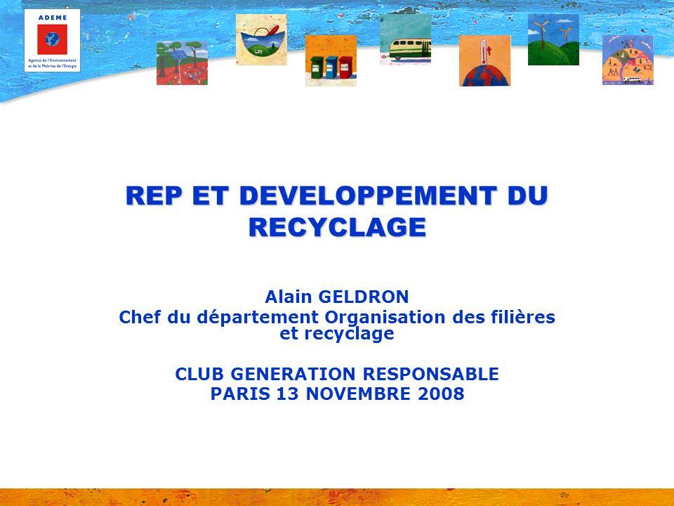 REP ET DEVELOPPEMENT DU RECYCLAGE Alain GELDRON Chef du département Organisation des filières et recyclage CLUB GENERATION RESPONSABLE PARIS 13 NOVEMB