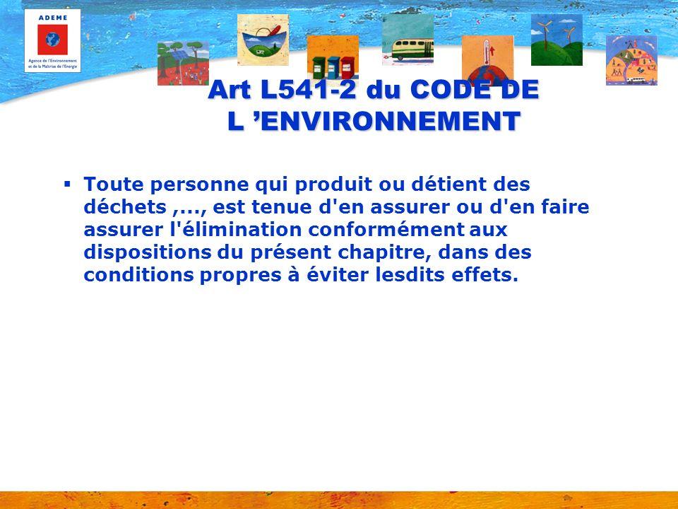 Art L541-2 du CODE DE L ENVIRONNEMENT Toute personne qui produit ou détient des déchets,..., est tenue d'en assurer ou d'en faire assurer l'éliminatio