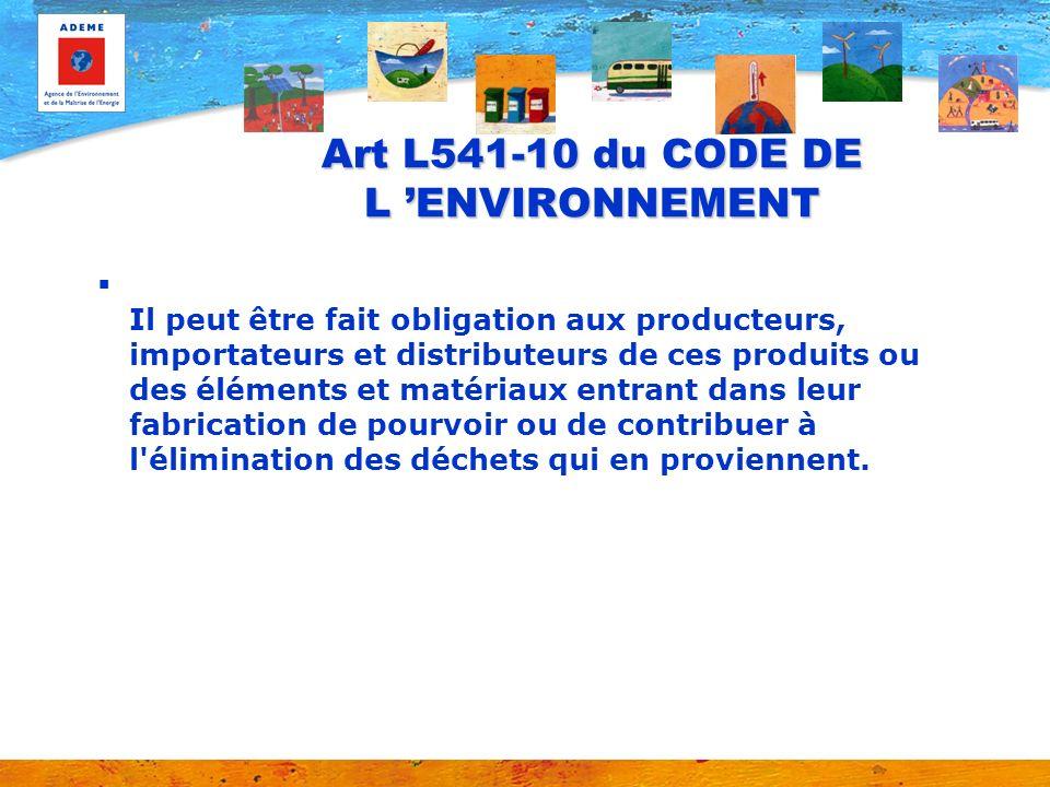 Art L541-10 du CODE DE L ENVIRONNEMENT Il peut être fait obligation aux producteurs, importateurs et distributeurs de ces produits ou des éléments et
