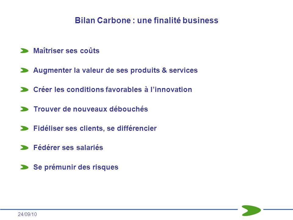 24/09/10 Bilan Carbone : une finalité business Maîtriser ses coûts Augmenter la valeur de ses produits & services Créer les conditions favorables à li