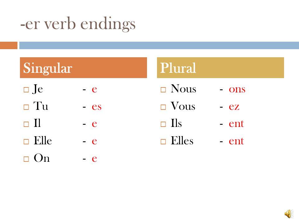 -er verb endings Je - e Tu- es Il- e Elle- e On- e Nous- ons Vous- ez Ils- ent Elles- ent SingularPlural