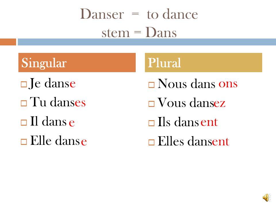 Danser = to dance stem = Dans Je dans Tu dans Il dans Elle dans Nous dans Vous dans Ils dans Elles dans SingularPlural e es e e ons ez ent