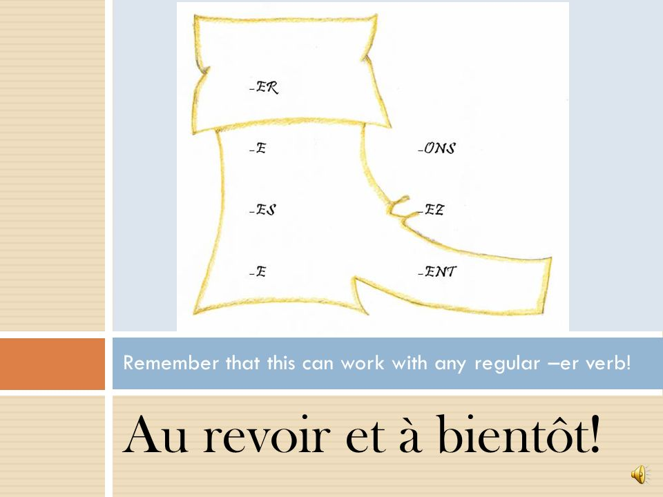 Au revoir et à bientôt! Remember that this can work with any regular –er verb!