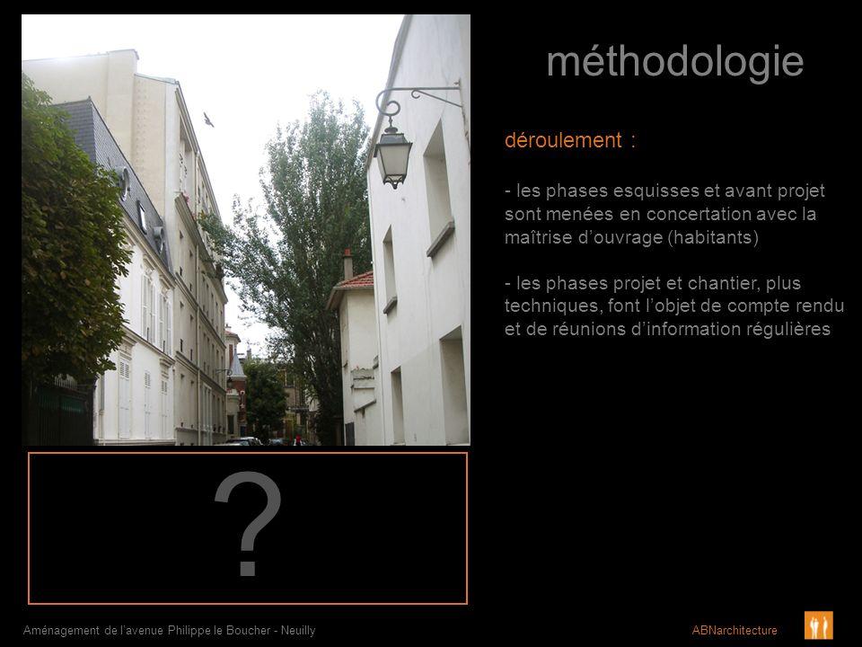 méthodologie Aménagement de lavenue Philippe le Boucher - Neuilly ABNarchitecture déroulement : - les phases esquisses et avant projet sont menées en