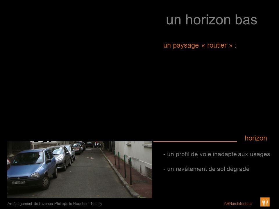 un horizon bas - un profil de voie inadapté aux usages - un revêtement de sol dégradé Aménagement de lavenue Philippe le Boucher - Neuilly ABNarchitec