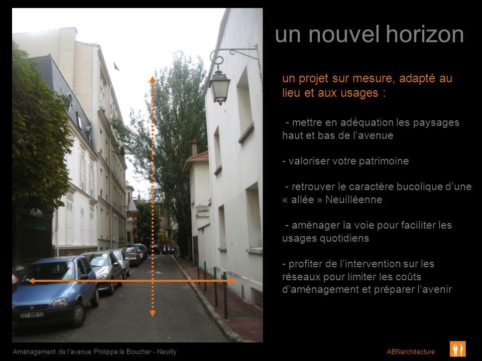 un nouvel horizon Aménagement de lavenue Philippe le Boucher - Neuilly ABNarchitecture un projet sur mesure, adapté au lieu et aux usages : - mettre e