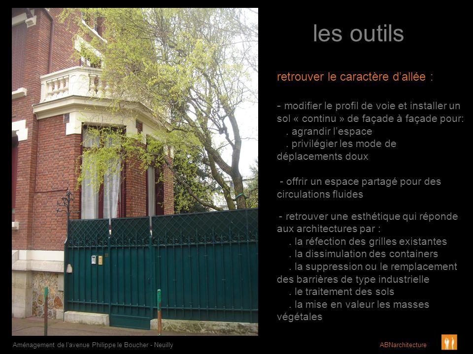 les outils Aménagement de lavenue Philippe le Boucher - Neuilly ABNarchitecture retrouver le caractère dallée : - modifier le profil de voie et instal
