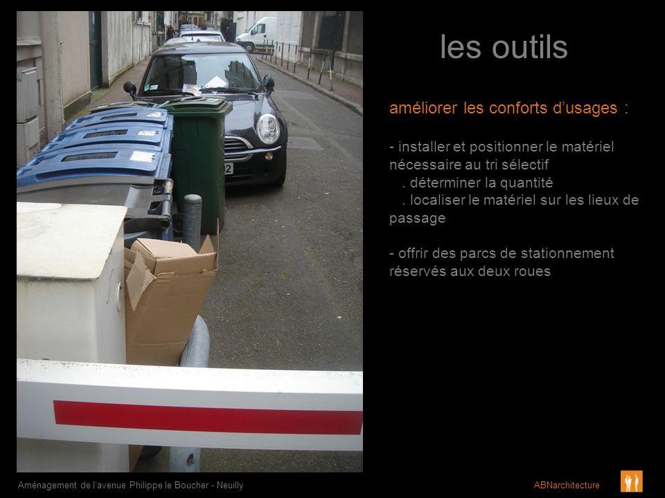 les outils Aménagement de lavenue Philippe le Boucher - Neuilly ABNarchitecture améliorer les conforts dusages : - installer et positionner le matérie