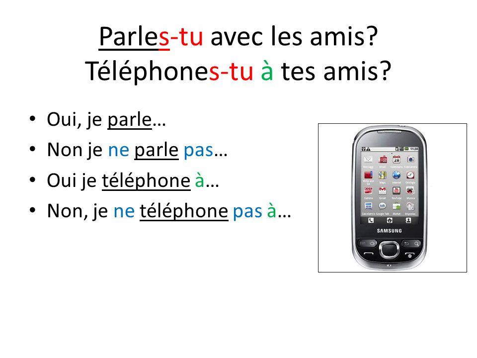 Parles-tu avec les amis? Téléphones-tu à tes amis? Oui, je parle… Non je ne parle pas… Oui je téléphone à… Non, je ne téléphone pas à…