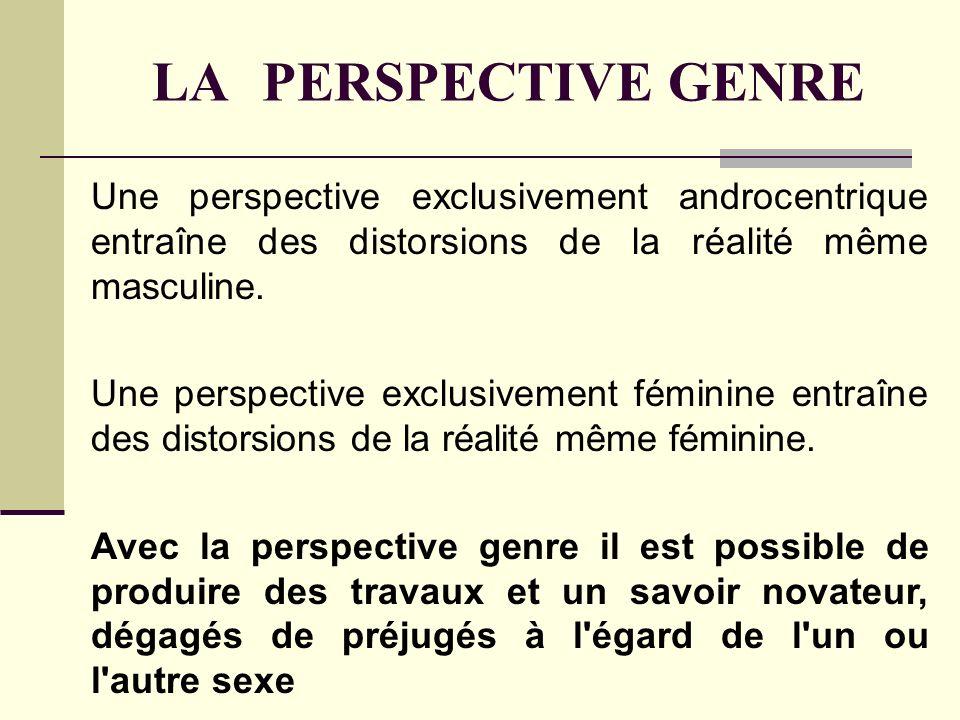 LA PERSPECTIVE GENRE Une perspective exclusivement androcentrique entraîne des distorsions de la réalité même masculine. Une perspective exclusivement