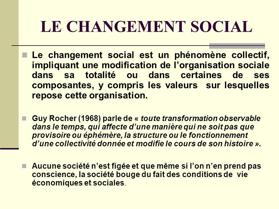 LE CHANGEMENT SOCIAL Le changement social est un phénomène collectif, impliquant une modification de lorganisation sociale dans sa totalité ou dans ce