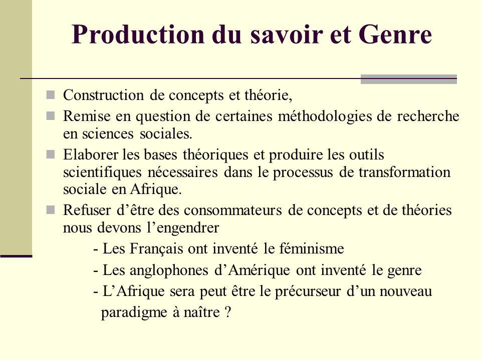 Production du savoir et Genre Construction de concepts et théorie, Remise en question de certaines méthodologies de recherche en sciences sociales. El