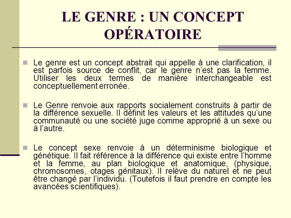 LE GENRE : UN CONCEPT OPÉRATOIRE Le genre est un concept abstrait qui appelle à une clarification, il est parfois source de conflit, car le genre nest