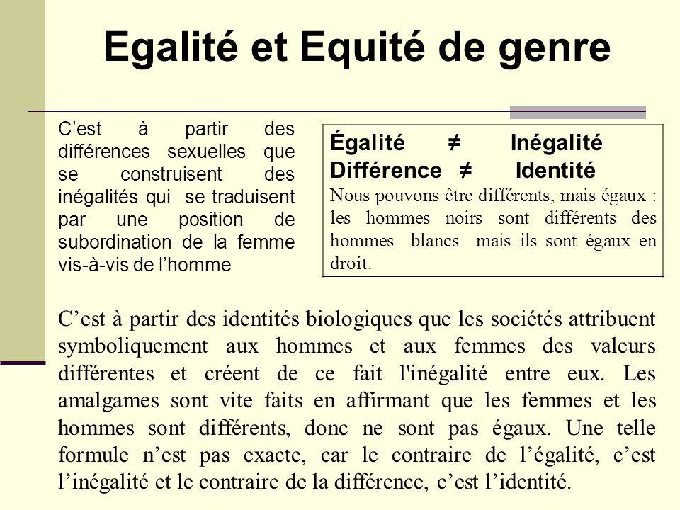 Égalité Inégalité Différence Identité Nous pouvons être différents, mais égaux : les hommes noirs sont différents des hommes blancs mais ils sont égau