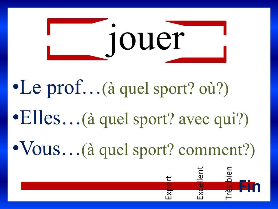 jouer Le prof… (à quel sport? où?) Elles… (à quel sport? avec qui?) Vous… (à quel sport? comment?) ExpertExcellentTrès bien Fin