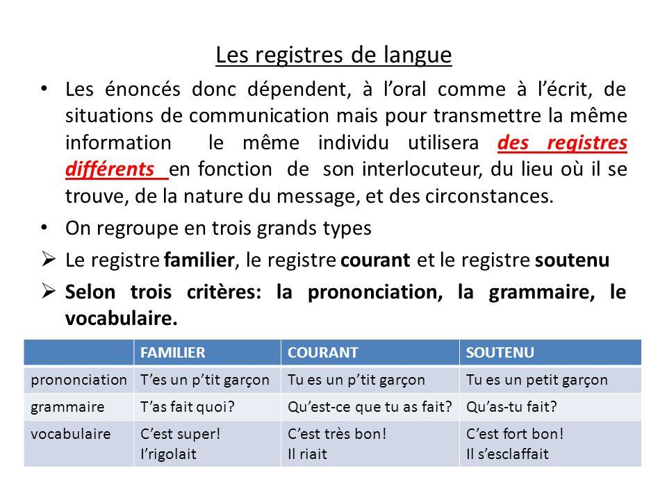 Les registres de langue Les énoncés donc dépendent, à loral comme à lécrit, de situations de communication mais pour transmettre la même information l