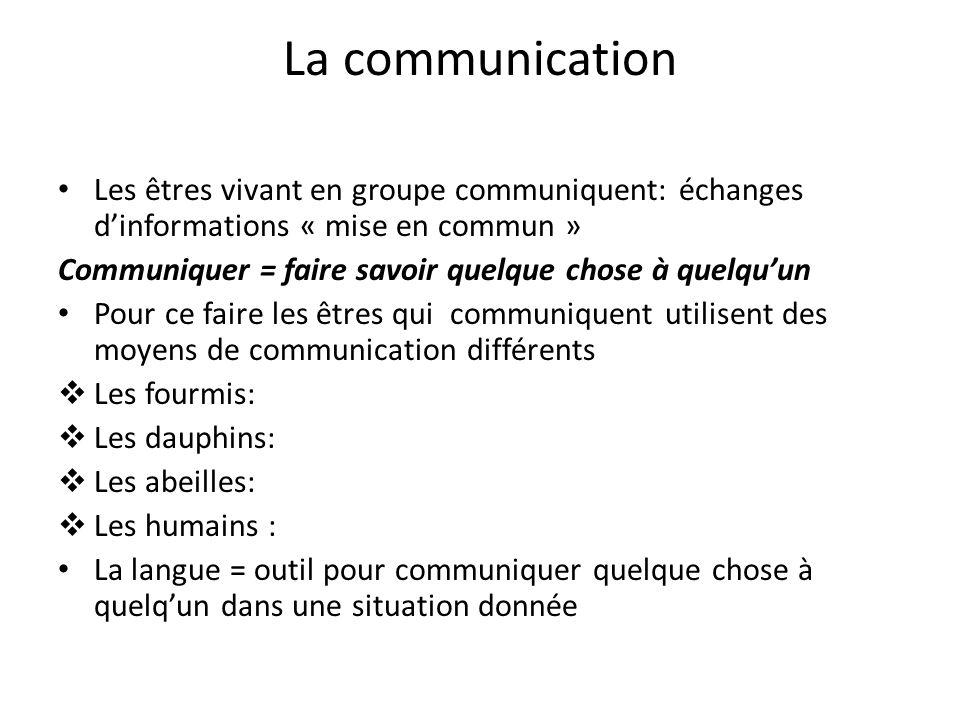 La communication Les êtres vivant en groupe communiquent: échanges dinformations « mise en commun » Communiquer = faire savoir quelque chose à quelquu