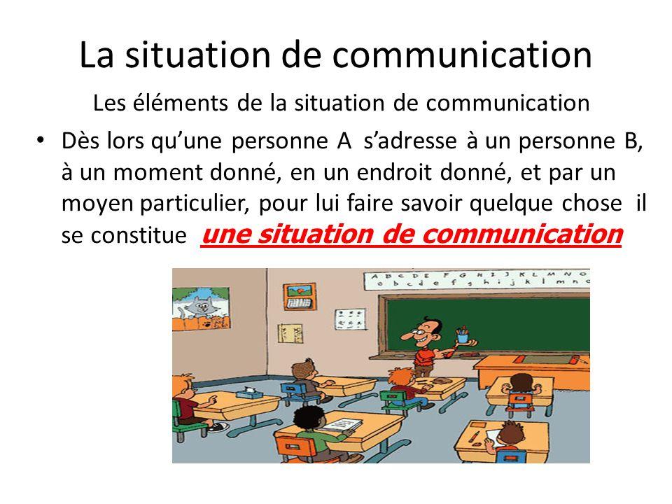 La situation de communication Les éléments de la situation de communication Dès lors quune personne A sadresse à un personne B, à un moment donné, en
