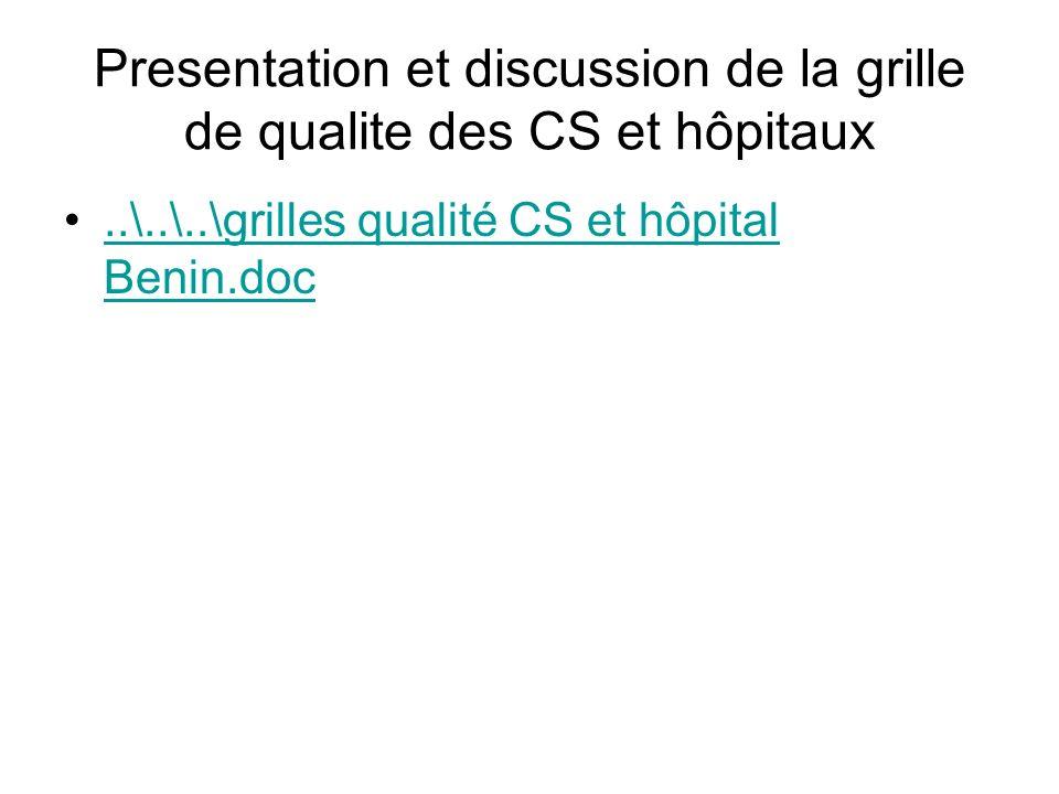 Presentation et discussion de la grille de qualite des CS et hôpitaux..\..\..\grilles qualité CS et hôpital Benin.doc..\..\..\grilles qualité CS et hô