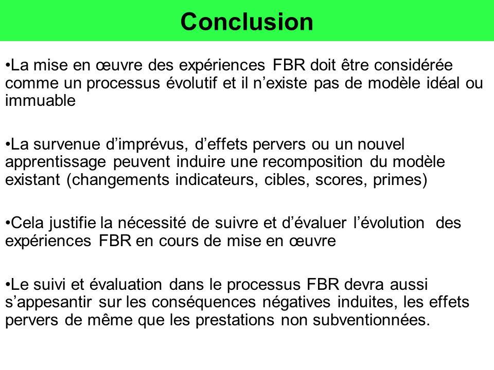Conclusion La mise en œuvre des expériences FBR doit être considérée comme un processus évolutif et il nexiste pas de modèle idéal ou immuable La surv