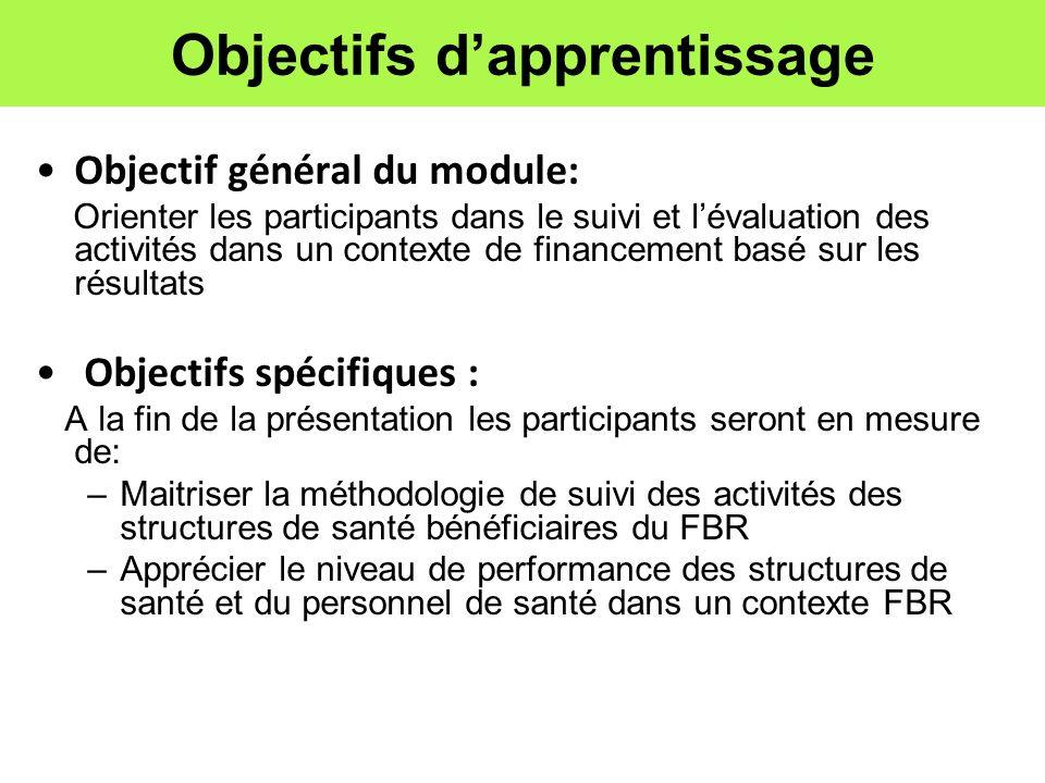 Objectifs dapprentissage Objectif général du module: Orienter les participants dans le suivi et lévaluation des activités dans un contexte de financem