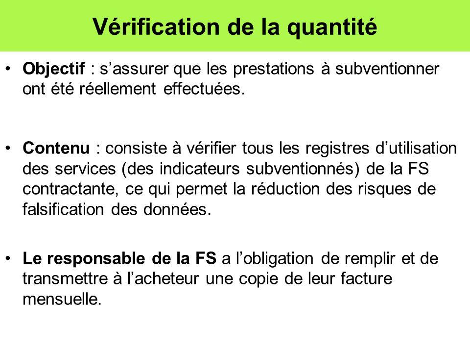 Vérification de la quantité Objectif : sassurer que les prestations à subventionner ont été réellement effectuées. Contenu : consiste à vérifier tous