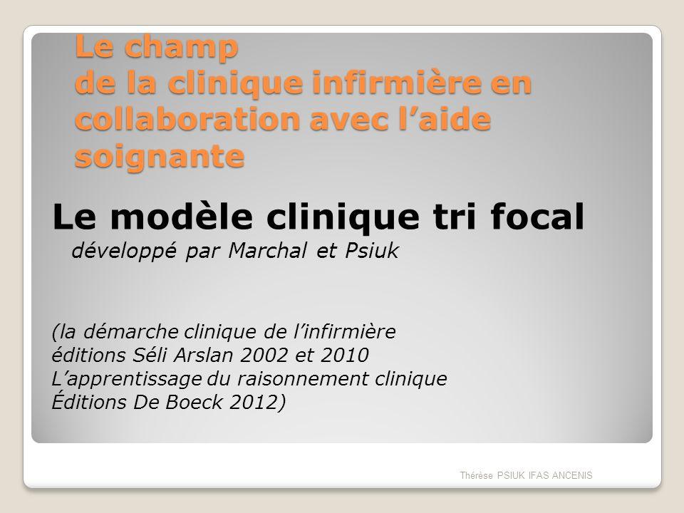 Le champ de la clinique infirmière en collaboration avec laide soignante Le modèle clinique tri focal développé par Marchal et Psiuk (la démarche clin