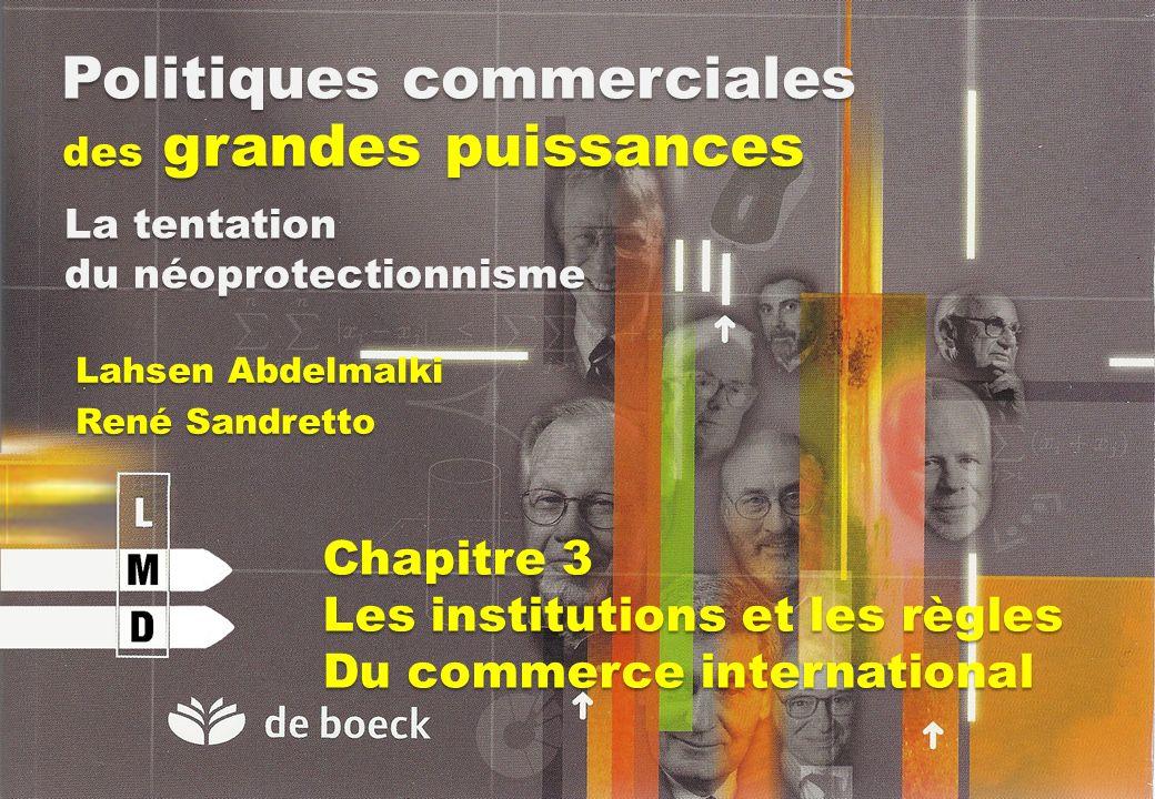 Politiques commerciales des grandes puissances Lahsen Abdelmalki René Sandretto La tentation du néoprotectionnisme Chapitre 3 Les institutions et les