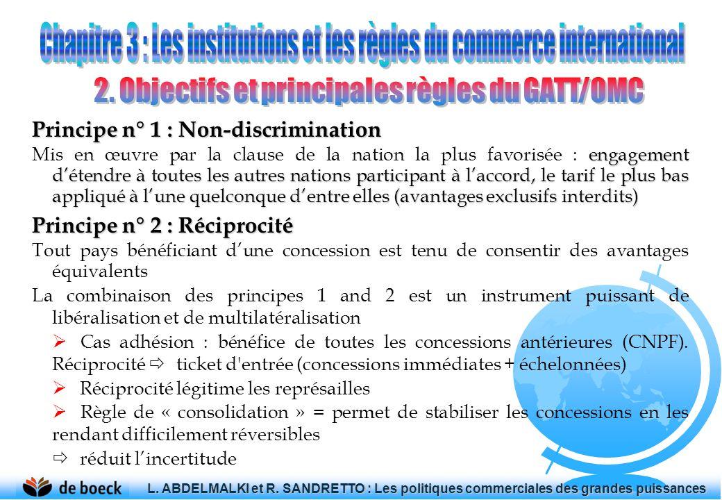 Principe n° 1 : Non-discrimination engagement détendre à toutes les autres nations participant à laccord, le tarif le plus bas appliqué à lune quelcon
