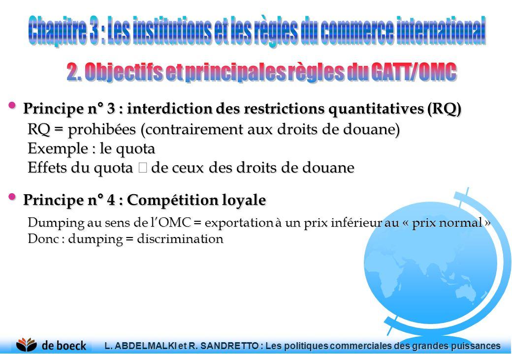 Principe n° 3 : interdiction des restrictions quantitatives (RQ) Principe n° 3 : interdiction des restrictions quantitatives (RQ) RQ = prohibées (cont