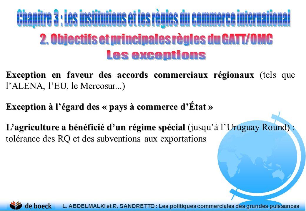 Exception en faveur des accords commerciaux régionaux Exception en faveur des accords commerciaux régionaux (tels que lALENA, lEU, le Mercosur...) Exc