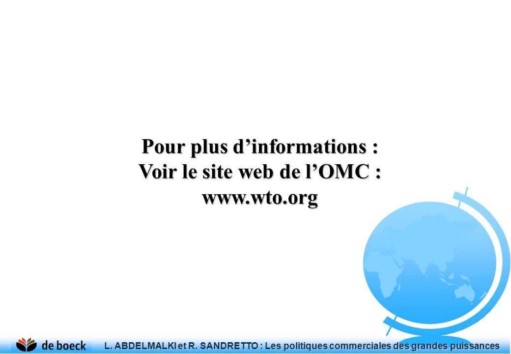 Pour plus dinformations : Voir le site web de lOMC : www.wto.org L. ABDELMALKI et R. SANDRETTO : Les politiques commerciales des grandes puissances L.