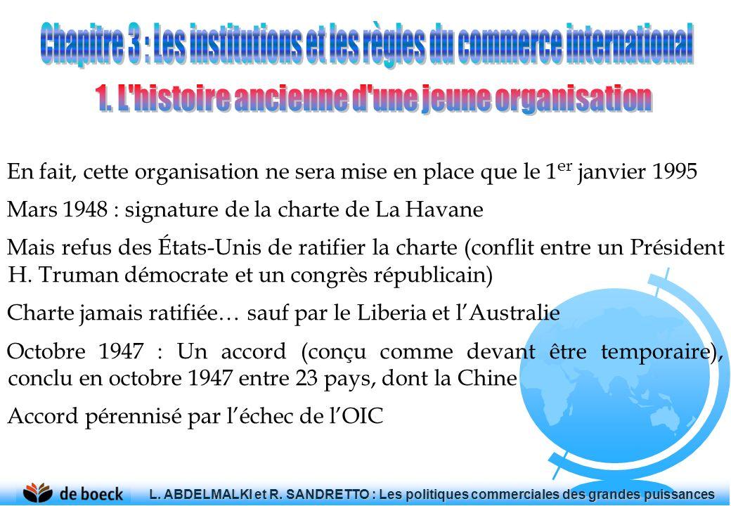 En fait, cette organisation ne sera mise en place que le 1 er janvier 1995 Mars 1948 : signature de la charte de La Havane Mais refus des États-Unis d
