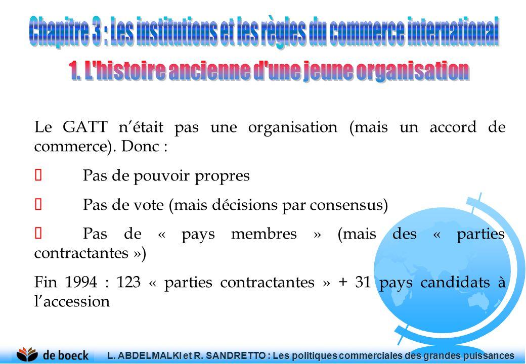 Le GATT nétait pas une organisation (mais un accord de commerce). Donc : Pas de pouvoir propres Pas de vote (mais décisions par consensus) Pas de « pa