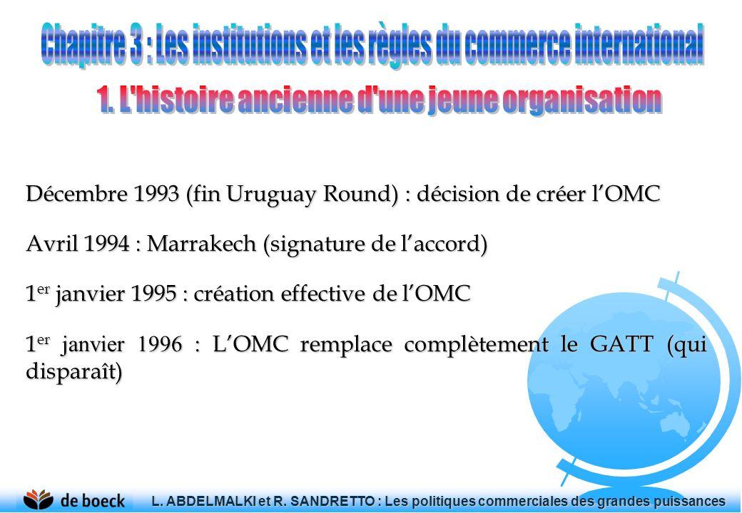 Décembre 1993 (fin Uruguay Round) : décision de créer lOMC Avril 1994 : Marrakech (signature de laccord) 1er janvier 1995 : création effective de lOMC