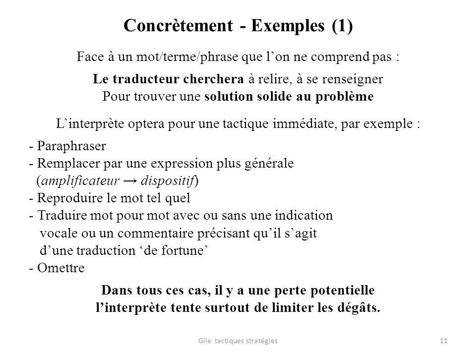 Concrètement - Exemples (1) Face à un mot/terme/phrase que lon ne comprend pas : Le traducteur cherchera à relire, à se renseigner Pour trouver une so