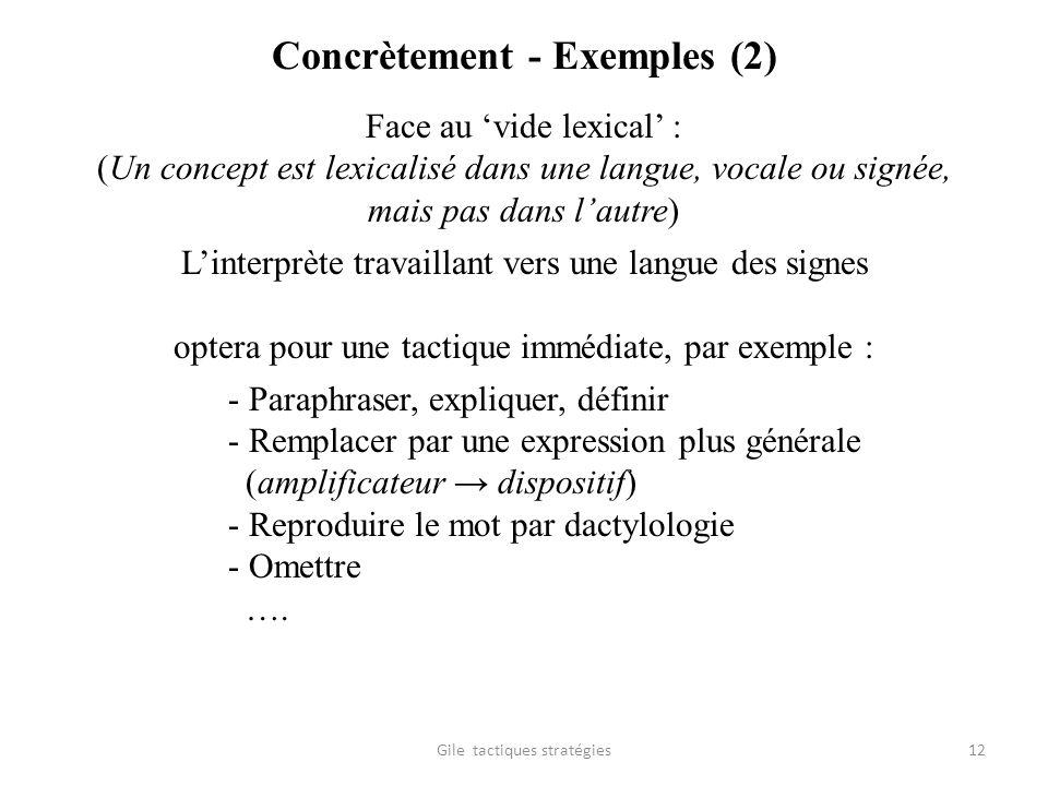 Concrètement - Exemples (2) Face au vide lexical : (Un concept est lexicalisé dans une langue, vocale ou signée, mais pas dans lautre) Linterprète tra