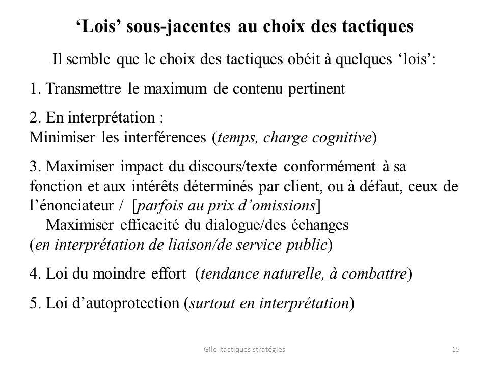 Lois sous-jacentes au choix des tactiques Il semble que le choix des tactiques obéit à quelques lois: 1. Transmettre le maximum de contenu pertinent 2