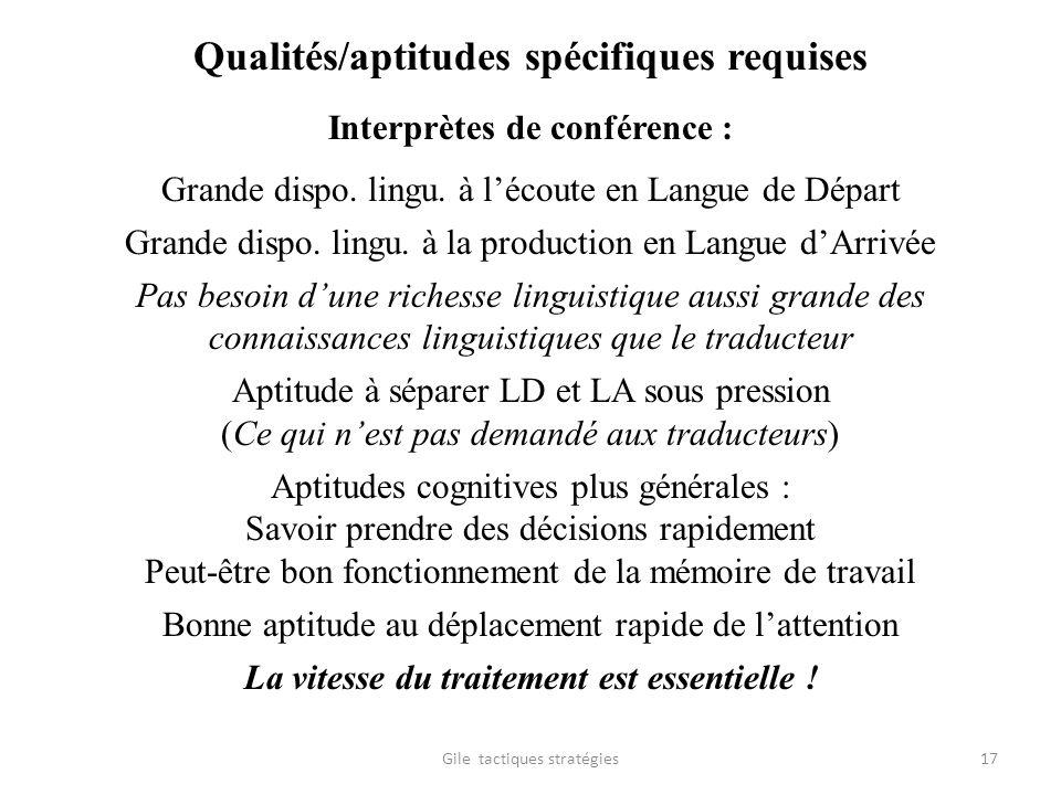 Qualités/aptitudes spécifiques requises Interprètes de conférence : Grande dispo. lingu. à lécoute en Langue de Départ Grande dispo. lingu. à la produ