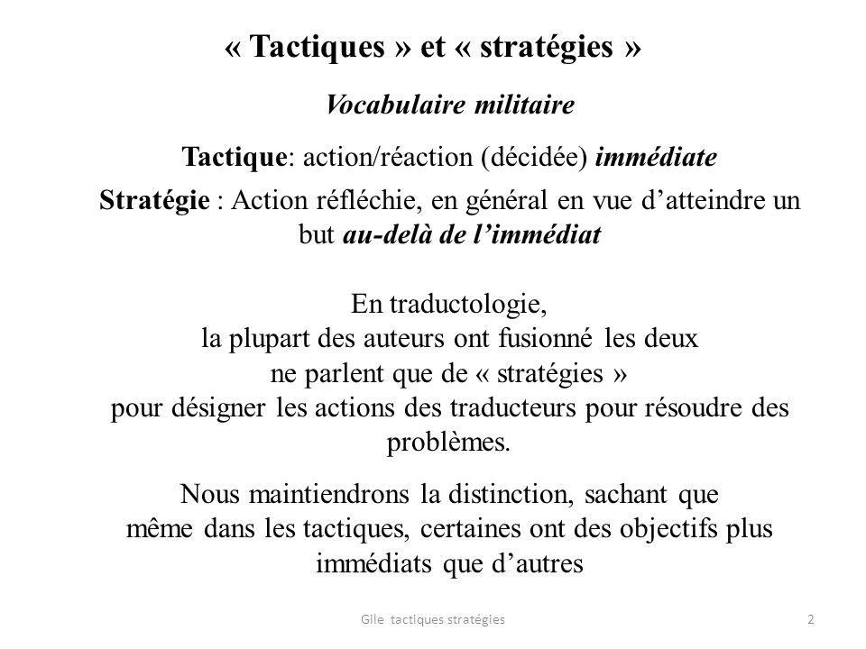 « Tactiques » et « stratégies » Vocabulaire militaire Tactique: action/réaction (décidée) immédiate Stratégie : Action réfléchie, en général en vue da