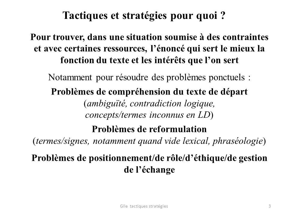 Tactiques et stratégies pour quoi ? Pour trouver, dans une situation soumise à des contraintes et avec certaines ressources, lénoncé qui sert le mieux