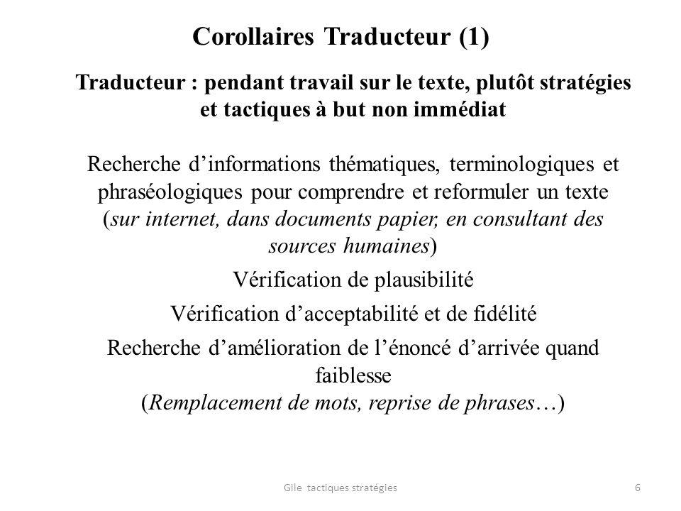 Corollaires Traducteur (1) Traducteur : pendant travail sur le texte, plutôt stratégies et tactiques à but non immédiat Recherche dinformations thémat