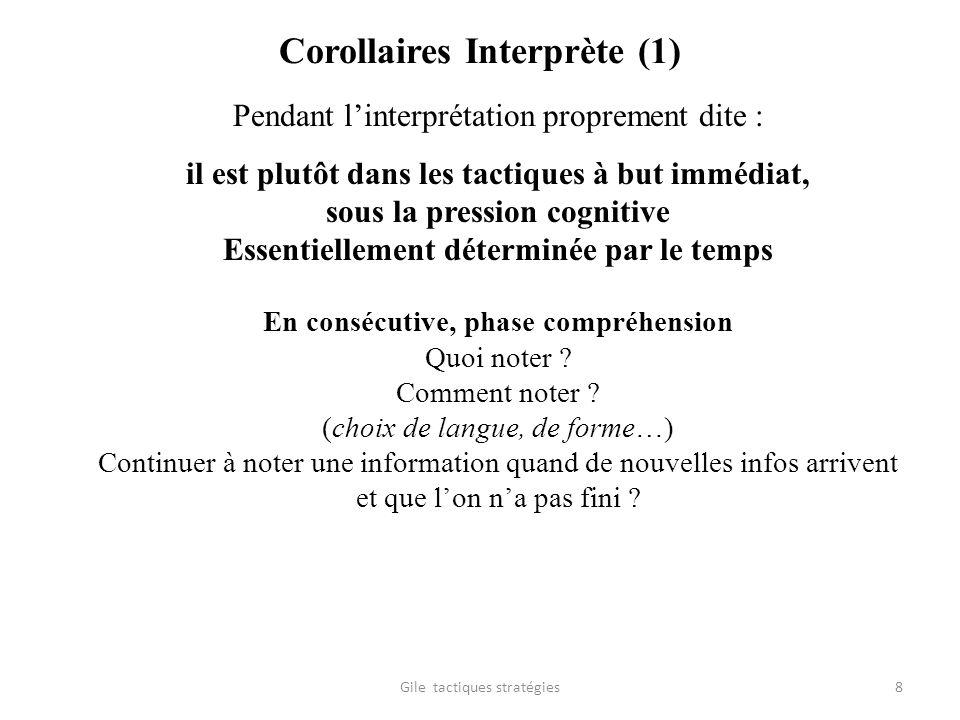 Corollaires Interprète (1) Pendant linterprétation proprement dite : il est plutôt dans les tactiques à but immédiat, sous la pression cognitive Essen