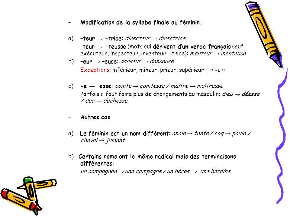 –Modification de la syllabe finale au féminin. a)–teur -trice: directeur directrice -teur -teusse (mots qui dérivent dun verbe français sauf exécuteur