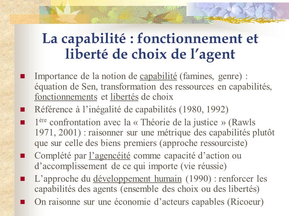 La capabilité : fonctionnement et liberté de choix de lagent Importance de la notion de capabilité (famines, genre) : équation de Sen, transformation