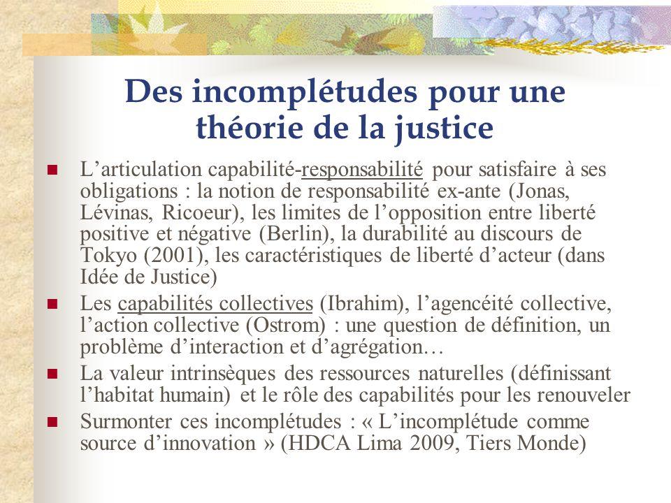 Des incomplétudes pour une théorie de la justice Larticulation capabilité-responsabilité pour satisfaire à ses obligations : la notion de responsabili