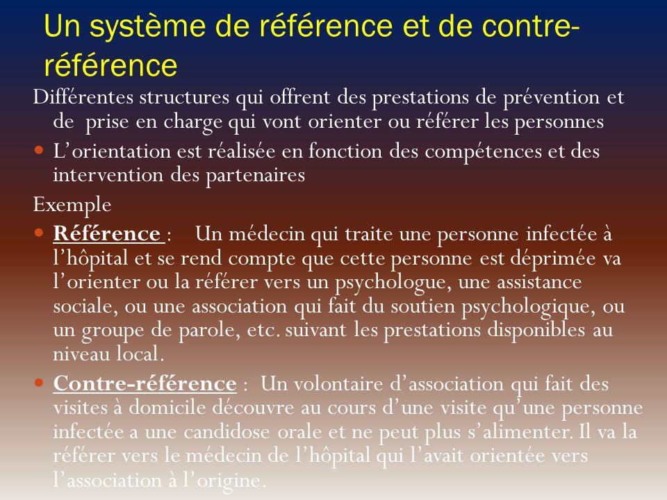 Un système de référence et de contre- référence Différentes structures qui offrent des prestations de prévention et de prise en charge qui vont orient